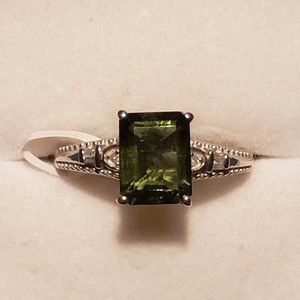 Faceted Moldavite & Dia ring 1.90 cts Plat over SS